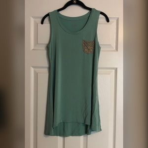 LOGO Sage Green Tank Top with Cute Lace Pocket
